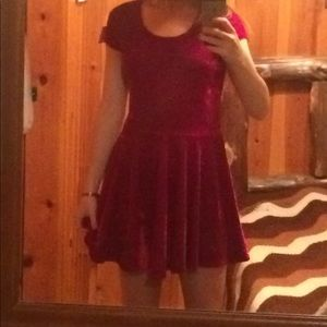 Red velvet mini skater dress
